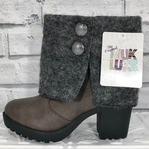 MUK LUKS Pull On Rolled Cuff Heeled Ankle Boot